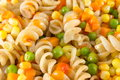 Macaroni served with vegetables close up Royalty Free Stock Photo