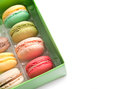 Macarons box with on white background Stock Images