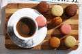 Macarons and a cup of coffee some for breakfast Royalty Free Stock Image