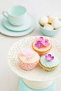 Macarons and decorated cupcakes Stock Photo