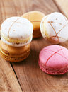 Macarons on wood Stock Photography