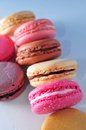 Macaroon baked confection in assorted color Stock Image