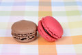 Macaroon cookies closeup of two Royalty Free Stock Photos