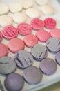 Macaroon prepare violet pink white color bake Stock Photos
