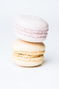 Macaroon sweet french cookies on white background Royalty Free Stock Photos