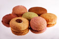 Macaroons assorted chocolate and fruit flavored Royalty Free Stock Image