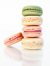 Macaroons delicious on a white background Royalty Free Stock Image