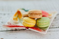 Macaroons multicolored macaroon on the color plate Royalty Free Stock Photography