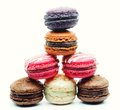 Macaroons over white background french dessert Royalty Free Stock Photo