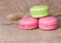 Macaroons in pink and light green is franch almond biscuits Stock Image