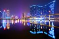 Macau china resorts and casinos at nam van lake in s a r Royalty Free Stock Photo