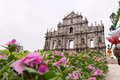 Macau china ruins of st paul is the most representative monuments for the s cathedral completed in the front wall this church Royalty Free Stock Photo