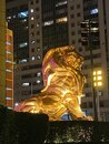 Macau MGM Macao Mgm Casino Hotel Gold Giant Golden Lion Sculpture Statue Entrance Outdoor Royalty Free Stock Photo