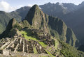 Macchu picchu general view of inca city of machu peru Royalty Free Stock Images