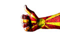 Macedonia likes this concept with thumbs up and macedonia flag Royalty Free Stock Photo