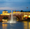 Macedonian s capital city skopje old stone bridge Royalty Free Stock Image