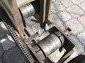 machine for bending metal squares tube, bender Royalty Free Stock Photo