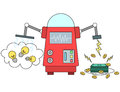 Machine converting ideas to money illustration of a Stock Photo
