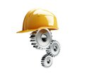 Machine gear construction helmet on a white background Royalty Free Stock Photos