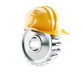 Machine gear construction helmet on a white background Stock Photo