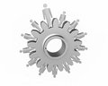Machine gears with figurine silver and reflection Stock Images