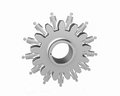 Machine gears with figurine silver and reflection Royalty Free Stock Image