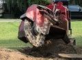 Machine Grinding Tree Stump Royalty Free Stock Photo