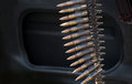 Machine gun belts ammunition for a mounted on a car Royalty Free Stock Photos