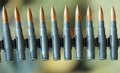 Machine gun bullets during a war patrol of the army Royalty Free Stock Photo