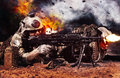 Machine gun crew in action Royalty Free Stock Photo