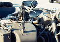 Machine gun mounted on the veteran sidecar detail of Royalty Free Stock Images