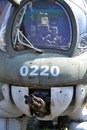 Machine gun on an old military airplane standing airport Stock Image