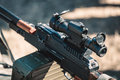 Machine gun with optical sight Royalty Free Stock Photo