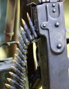 Machine gun with Strip bullets and ammunition army Royalty Free Stock Photo