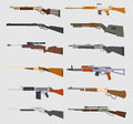 Machine guns vector set.