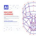 Machine learning system web template. Human face consisting of polygons, points, lines and binary data flow on blue Royalty Free Stock Photo