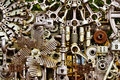 Machine parts background abstract of differently assembled metal Stock Photography