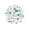 Machine parts flat vector icons in circle composition Royalty Free Stock Photo