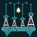 The machine produces oil rig in a dark room with a light bulb illegal extraction of investment mineral extraction petroleum Royalty Free Stock Photography