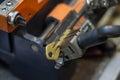 Machine production of duplicate metal key. Royalty Free Stock Photo