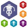 Machine robot icons set hexagon
