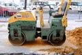 Machine working of asphalt road construction Royalty Free Stock Photo
