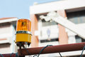 Machine working siren in construction site Stock Image