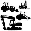 Machinery set of silhouettes of a tractors of roa road service vector silhouette Stock Photo