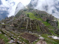 Machu Picchu Fog Royalty Free Stock Images