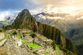 Machu picchu the inca s lost city without any tourists at dawn Royalty Free Stock Photos