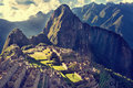 MACHU PICCHU, PERU - MAY 31, 2015: View of the ancient Inca City Royalty Free Stock Photo