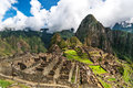 Machu Picchu, a Peruvian Historical Sanctuary in 1981 and a UNESCO World Heritage Site in 1983. One of the New Seven Wonders of th Royalty Free Stock Photo