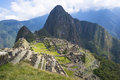 Machu picchu ruins overview of peru Stock Photography