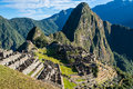 Machu picchu ruins peruvian andes cuzco peru incas in the at Royalty Free Stock Images